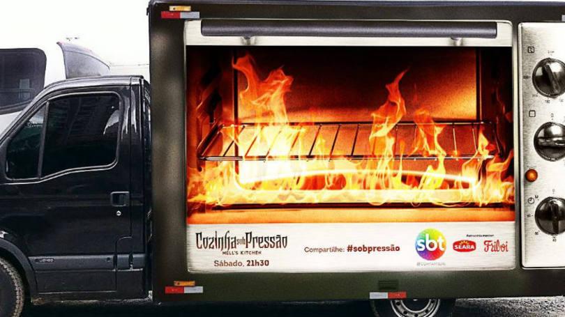 """SBT coloca food truck """"em chamas"""" utilizando painel de LED"""